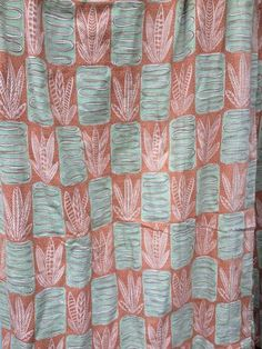 Vintage Midcentury Large Barkcloth Orange Green Iconic Curtains X Coral Pink, Mid Century, Curtains, Orange, Bedroom, Breakfast, Green, Stuff To Buy, Ebay
