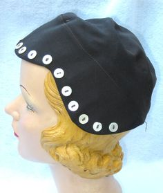1930's Vintage Aviator Style Glamour Hat with Buttons Small.