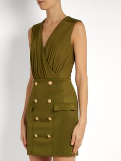 Click here to buy Balmain V-neck button-embellished jersey dress at MATCHESFASHION.COM