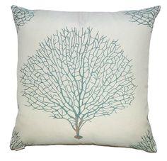 Teal Sea Fan Luxury Pillow