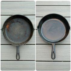 ジャガイモ半分と塩を使えば、鉄製のフライパンを効果的にきれいにできます。 | Instagramでみつけた!お掃除のアイデアたち