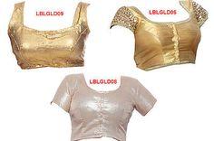 Ready-made Golden Sequines Shimmer Sari Choli Designer Top 3 Saree Blouse Combo