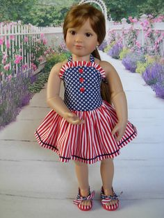 Patriotic Sundress and Shoes fits Kids n Cats and slim 18 inch dolls by WeeWhimzyWardrobe on Etsy Sewing Doll Clothes, Girl Doll Clothes, Doll Clothes Patterns, Girl Dolls, Ag Dolls, Doll Patterns, My American Girl Doll, American Doll Clothes, Patriotic Dresses