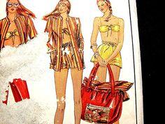Womens Designer Pattern Large Tote Bag, Jacket, Pants, Bandeau Bra Top, Shorts Pattern Misses size 18 UNCUT Parsons School of Design Patter by PatternsFromThePast