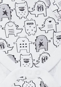 F&F 5 Pack of Monster and Star Print Bodysuits Monster Illustration, Pattern Illustration, Children's Book Illustration, Doodle Drawings, Cute Drawings, Kids Graphics, Animal Doodles, Baby Posters, Monster Art