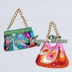 Retro Groovy Purse Pocketbook Handbag Glass Christmas Ornament