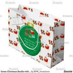 Green Christmas Bauble with Santa's & Sleigh Large Gift Bag
