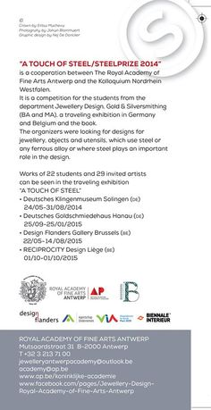 "Jewellery Design Royal Academy of Fine Arts Antwerp - Info next exhibition ""A Touch of Steel"""