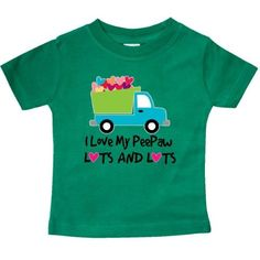 Inktastic I Love My PeePaw Grandpa Baby T-Shirt Heart Grandchild Childs Gift Cute Dump Truck Pee Paw Grandfather Grandparents T-shirt Infant Tees Shower Clothing Apparel Hws, Infant Boy's, Size: 18 Months, Green