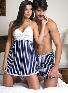 pijama para casais Cute Sleepwear, Sleepwear Women, Pajamas Women, Lingerie Sleepwear, Nightwear, Sexy Lingerie, Lingerie Outfits, Lingerie Dress, Women Lingerie