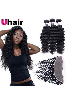 brazilian deep wave human hair with lace frontal