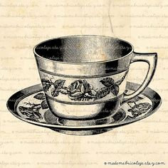 Teacup, Teacups, Tea Cup, Digital Image Download  for Iron on Transfer, Papercrafts, Pillows, T-Shirts, Tote Bags, Burlap, No 00422