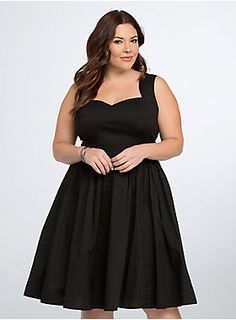 The LBD lightens up. Black cotton poplin provides a lightweight feel to this retro dress. The sweetheart neckline is all about that form-fit, extending into a gathered waistband that's fit for flaring. V back straps flash hints of skin with cutouts.
