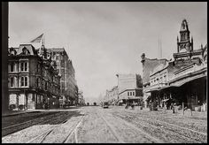 Viewing west from Market and 2nd street, San Francisco, just after completion of the Palace Hotel c1880