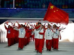 Chinese team marching into the stadium during the Opening Ceremonies