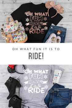 "Oh What Fun it is to Ride is the perfect tee for a Disney Holiday Vacation. This also makes a great gift for ""Disney Ride Loving"" family and friends. Mickey Christmas, Christmas Shirts, Cozy Christmas, Sassy Shirts, T Shirts For Women, Vinyl Designs, Shirt Designs, Cool Gifts, Best Gifts"