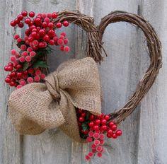 Valentine Wreath Heart Wreath Berries Burlap