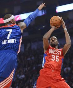 Kevin Durant shooting over Carmelo Anthony in the all star game.