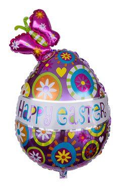 """Das überdimensionale Osterei hat eine Größe von ca. 76 cm und erstrahlt in bunten Farben und mit der Aufschrift """"Happy Easter"""" in der Mitte. Der Hingucker ist definitiv der hübsche Schmetterling, der es sich auf dem Osterei bequem gemacht hat."""