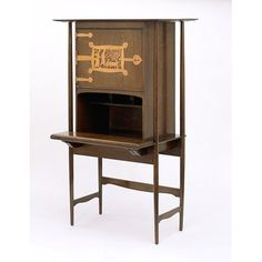 Writing desk  Place of origin: England, Great Britain (made)  Date: 1896 (designed)  Artist/Maker: C. F. A. Voysey, born 1857 - died 1941 (designer)  Reynolds, W. B., born 1855 - died 1935 (metal-worker)  Materials and Techniques: Unstained, unvarnished oak, with copper panel, hinges and fittings
