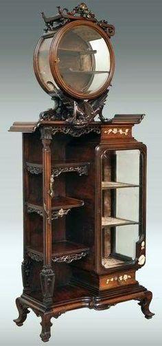 Victorian:  #Victorian ~ Majorelle - Vitrine au Grand Dragon - Bois et Bronze Doré - Vers 1880-90.