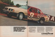 """*PRINT AD* 1986 GOODYEAR EAGLE TIRES with Bill Elliot's FORD THUNDERBIRD """"..Built on the Promise..."""" VINTAGE COLOR AD DOUBLE PAGE - USA - BEAUTIFUL ORIGINAL !! -- Awesome products selected by Anna Churchill"""