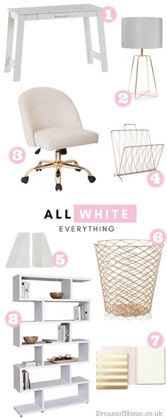 If you're thinking of changing up your office interior, this white and gold-themed office moodboard should help you to achieve a productive work space.