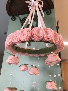 Items similar to Finest wool pale blush pink Felt flower mobile Paper Flowers Diy, Flower Crafts, Fabric Flowers, Felt Roses, Felt Flowers, Potted Flowers, Rose Flowers, Deco Baby Shower, Flower Mobile