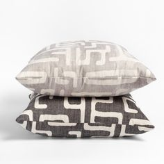 This faded charcoal and sandy beige pillow will add the subtle graphic impact your space is craving. The abstract and dynamic pattern has a hand-blocked look, and delivers artisanal flair with a modern edge. Beige Pillows, Throw Pillows, Round Stool, Young At Heart, Large Sofa, Handmade Pillows, Decorative Accessories, Fabric Design, Charcoal