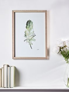 Framed Feather Illustration Print