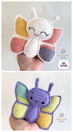 Crochet Bebe, Crochet For Kids, Crochet Yarn, Free Crochet, Crochet Patterns Amigurumi, Knitting Patterns, Knitting Projects, Crochet Projects, Crochet Butterfly