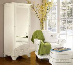 Shop armoire from Pottery Barn. Our furniture, home decor and accessories collections feature armoire in quality materials and classic styles. Deck Furniture Layout, Metal Patio Furniture, Furniture Upholstery, Yellow Painted Furniture, White Furniture, Furniture Sale, Shabby Chic Bedroom Furniture, Farmhouse Living Room Furniture, Pottery Barn Bedrooms