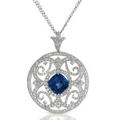 Blue Sapphire and Pave Diamond Filigree Pendant -   www.VannaK.com