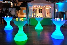 LED Hourglass Pub Tables (all of our LED products can be lit in 13 different colors) Lounge Decor, Cocktail Tables, Hurricane Glass, Different Colors, Dreaming Of You, Pub Tables, Vase, Hourglass, Birthday Parties