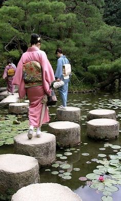 Heian Shrine Garden, Kyoto, Japan  - stepping stones for a wander through waterlilies