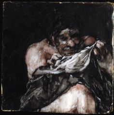 Francisco Goya: Man Looking for Fleas in His Shirt carbon black and watercolor on ivory, Museum of Fine Arts, Boston Francisco Goya, Goya Paintings, Spanish Artists, Arts Ed, Weird Art, Old Master, Museum Of Fine Arts, Fleas, Painting & Drawing