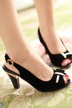 Peep Toes Bowtie Sandals Slingbacks Women Pumps High Heels Shoes Woman Black