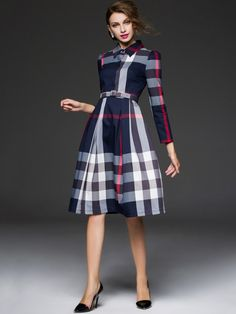 Dark Blue V Neck Checkered/Plaid Printed Vintage Midi Dress Modest Skirts, Modest Outfits, Modest Fashion, Fall Outfits, Vintage Midi Dresses, Daily Dress, Classic Outfits, Navy Blue Dresses, Dresses For Work