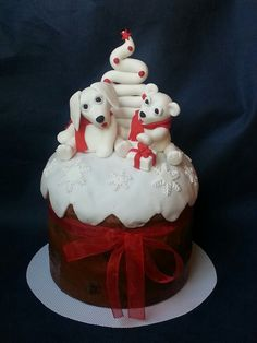 Cute Italian panettone - sweet bread loaf traditionally served in Italy at Christmas time