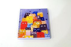 Cat notebook cat journal Book cat lover Mini notebook spiral Notebook travel Pet journal book with kitten Funny cats painting Lovely Diary