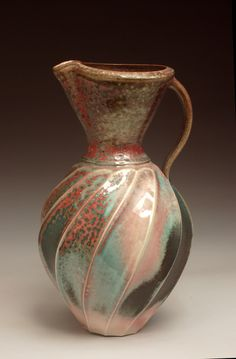 Jim Connell Rock Hill SC Red Green Carved Pitcher 11x6x6 Porcelain, ^10 salt