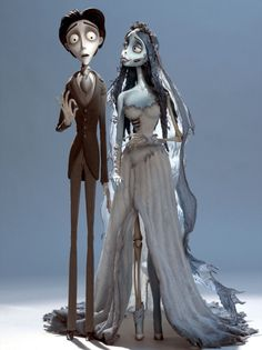 Johnny Depp as Victor Van Dort and Helena Bonham Carter as Emily from Tim Burton's film, Corpse Bride Estilo Tim Burton, Arte Tim Burton, Tim Burton Style, Corpse Bride Costume, Corpse Bride Tattoo, Corpse Bride Makeup, Corpse Bride Wedding, Tim Burton Corpse Bride, Johny Depp