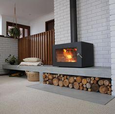 Freestanding Fireplace, Concrete Fireplace, Stove Fireplace, Fireplace Remodel, Fireplace Wall, Fireplace Design, Backyard Fireplace, Concrete Floor, Fireplace Ideas