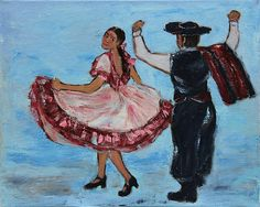 'Argentinian Folk Dance' © Xueling Zou, home decor, wall art, gift, greeting cards, posters, prints, original, corporate art, $6.00, for sale, south america, latin american, argentinian folk dance, dance, dancer, dancers, dancing, folk, flirt, couple, culture, gaucho, flamenco, fandango, lovers, rhythms, impressionist art, impressionism, oil painting,