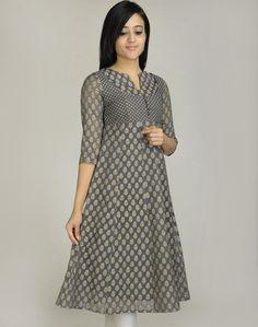 Fabindia - Silk Cotton Cutwork Empireline Paneled Long Kurta Pakistani Dresses, Indian Dresses, Indian Outfits, Kurta Patterns, Dress Patterns, Salwar Designs, Blouse Designs, Indian Attire, Indian Wear