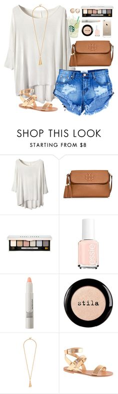 """""""summer breezy"""" by classically-preppy ❤ liked on Polyvore featuring Tory Burch, Bobbi Brown Cosmetics, Essie, Make, Stila and J.Crew"""