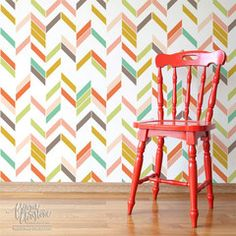 Modern Herringbone Shuffle Wall stencil by Bonnie Christine for Royal Design Studio - love the multi-color look here!