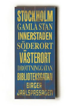 Stockholm Transit Sign Wood Wall Plaque