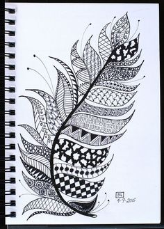 Art Journal - Zentangled Feather | by Pink Palindrome