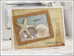 Dietrich Designs - Seashore themed wedding card, with a postcard feel and a touch of cork. Shell stamps from Blockheads Paper Arts, sentiments from Wplus9 Fresh Cut Wreaths.